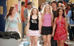 Above L-R: Lindsay Lohan, Amanda Seyfried, Rachel McAdams, Jonathan Bennett and Lacey Chabert strut the halls in 'Mean Girls'