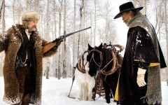 Above: Kurt Russel and Sam Jackson square off in 'The Hateful Eight'.
