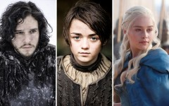Above: Jon Snow, Arya Stark and Daenerys Targaryen are set to return to HBO on April 12th