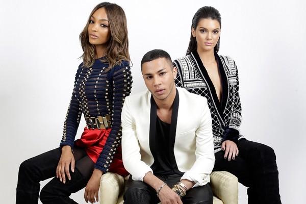 Above: Jourdan Dunn, Balmain designer Olivier Rousteing and Kendall Jenner