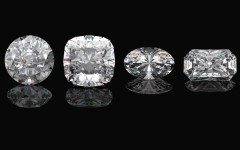 Diamond shapes 101: Above: Round Cut, Princess Cut, Oval Cut and Emerald Cut diamonds (Photos: Modella/Shutterstock)