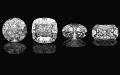 Diamond shapes 101: Above: Round Cut, Princess Cut, Oval Cut and Emerald Cut diamonds (Photos: Modella/Shutterstock)