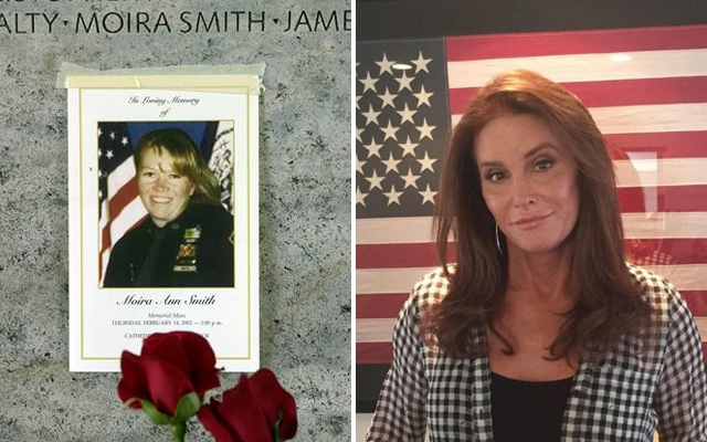 Above: Moria Smith's husband has returned a posthumously given award after Caitlyn Jenner received the same recognition