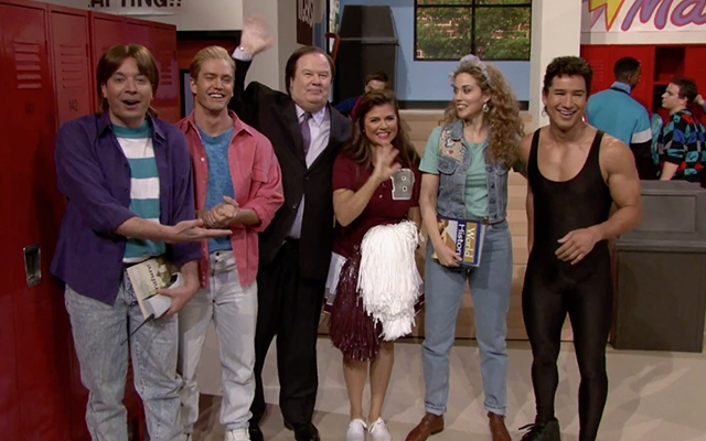 "Above: Jimmy Fallon, Mark-Paul Gosselaar, Dennis Haskins, Tiffani Thiessen, Elizabeth Berkley, and Mario Lopez in a ""Saved By The Bell"" reunion"