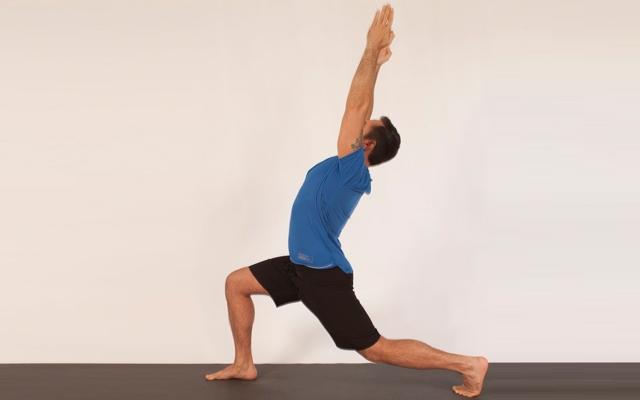 Above: Michael DeCorte demonstrates a hip flexor stretch flow (Photo credits: Glenn Gebhardt)