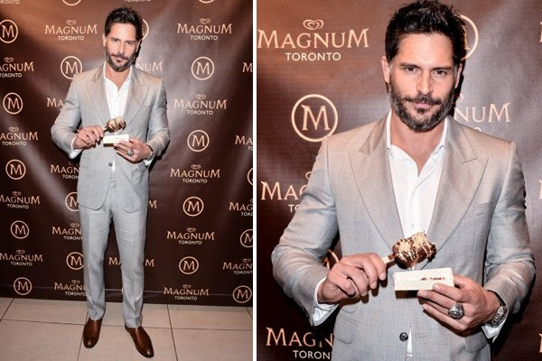 Joe Manganiello with his custom created Magnum ice cream bar at Toronto's Magnum Pleasure Store (CNW Group/Magnum)