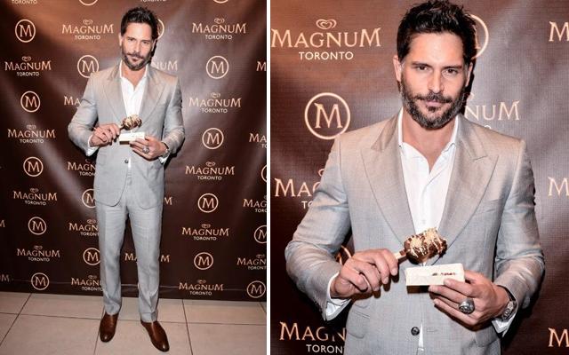 Joe Manganiello with his custom created Magnum ice cream bar at Toronto's Magnum Pleasure Store (CNW Group/Magnum)