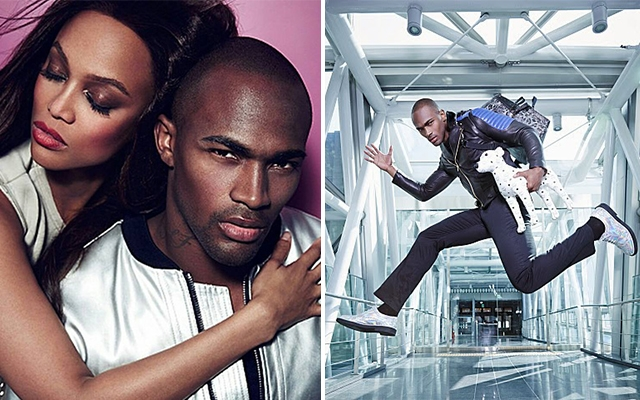 Above: Keith Carlos posing with Tyra Banks, and his winning MCM photo