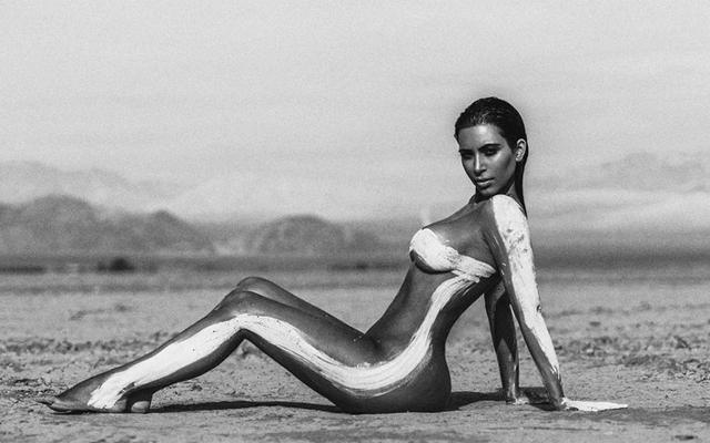 Above: Kim Kardashian West shows off her amazing pre-pregnancy bod in nude desert shoot