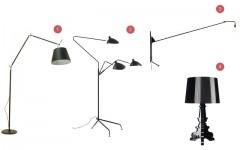 Above: 1) Tolemo Mega, $1400; 2) Serge Mouille Three-Arm Floor Lamp, $7400; 3) Prouvé Potence Lamp, $1800; 4) Kartell Bourgie Lamp, $450
