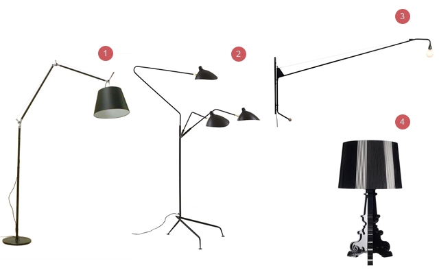 Above: 1) Tolemo Mega, $1400; 2) Serge Mouille Three-Arm Floor Lamp, $7400; 3) Prouvé Potence Lamp, $1800; 4) Kartell Bourgie Lamp, $450