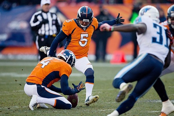 Above: Matt Prater broke Tom Dempsey's 43-year-old record with his 64-yard field goal on Sunday December 12, 2013 when the Denver Broncos played the San Diego Chargers at Sports Authority Field at Mile High in Denver