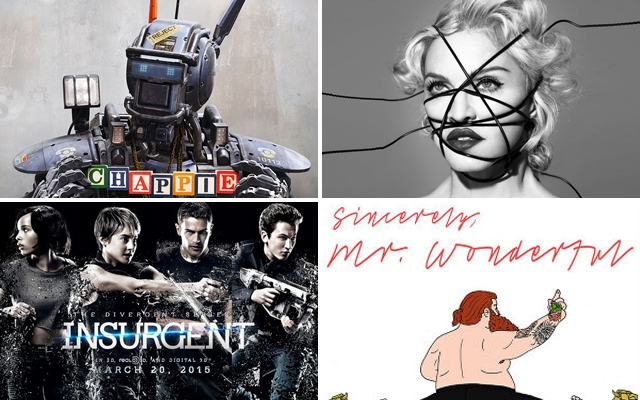 Above: The movies, music, books and games coming your way this March