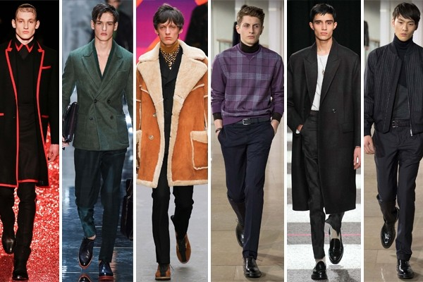 Above: Fall 2015 men's trends include: bold reds, greens, shearling, turtlenecks, knee-length wool jackets, and pinstripes