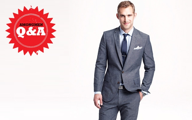 Above: J Crew's chambray blue Ludlow suit