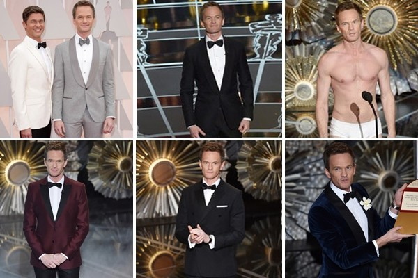 Above: Neil Patrick Harris changed a record six times throughout the 2015 Oscar festivities