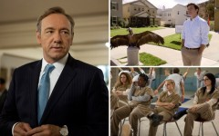 Above clockwise: House of Cards, Arrested Development and Orange Is The New Black