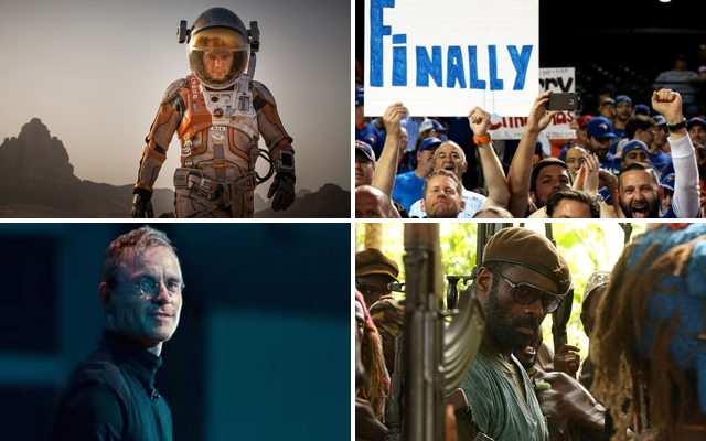 Above (clockwise): 'The Martian' starring Matt Damon, The Toronto Blue Jays are in the playoffs, 'Beasts of No Nation' hits Netflix this month and the 'Steve Jobs' biopic with Michael Fassbender