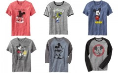 "Above: The six men's T-shirts included in Old Navy's ""Mickey Through The Decades"" collection"