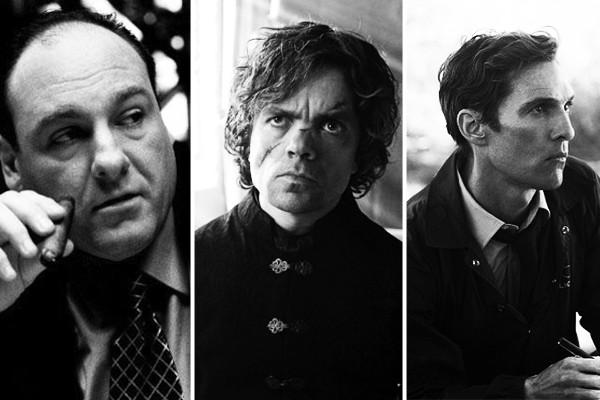 Above: James Gandolfini in The Sopranos, Peter Dinklage in Game of Thrones and Matthew McConaughey in True Detective