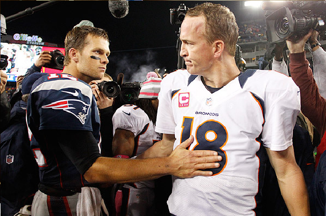 Brady had a 9-4 record against Peyton Manning heading into Sunday night's showdown. The Patriots took it 34-31.