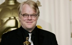 "Above: Philip Seymour Hoffman with the Oscar he won for best actor in 2006 for his work in ""Capote"""