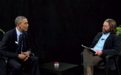 President Barack Obama and Zach Galifianakis chat between two ferns (Photo: Funny or Die)