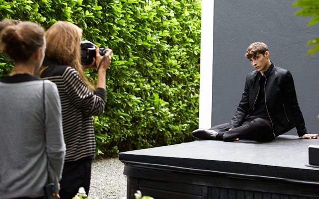 Above: Model Adrien Sahores shooting the Hugo Man fragrance ad campaign