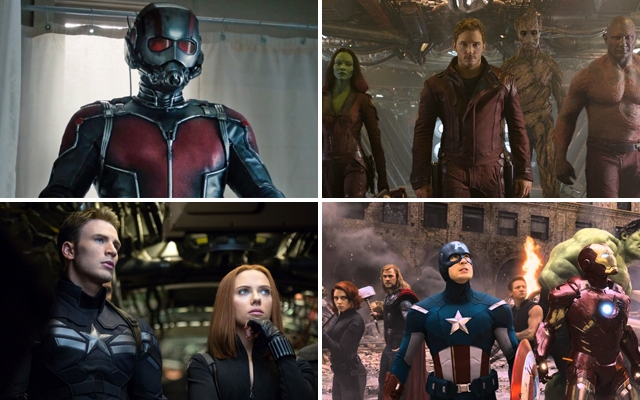 Above (clockwise): Ant-Man, Guardians of the Galaxy, the Avengers and Captain America: The Winter Soldier