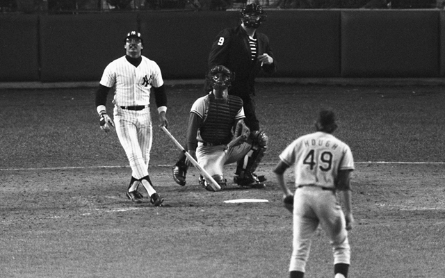 Above: Reggie Jackson watches the flight of his third home run – on three pitches – against the Dodgers in Game 6 of the 1977 World Series (Photo: AP)