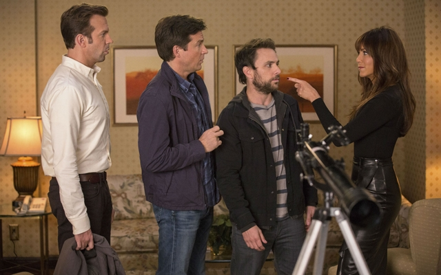 Above: Jason Sudeikis, Jason Bateman, Charlie Day and Jennifer Aniston star in 'Horrible Bosses 2'