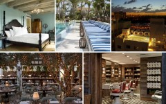Above (top): The Bayside Soho room, the Soho Beach House pool and an aerial shot of the Soho Beach House rooftop / Above (bottom): Cecconi's Italian Restaurant  and the Cowshed Spa inside the Soho Beach House in Miami (Photos courtesy of: Soho Beach House)