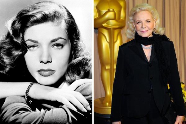 Above: Lauren Bacall in 1946 and in 2010