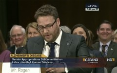 Above: Actor Seth Rogen gives a touching personal testimony to senate on Alzheimer's Disease