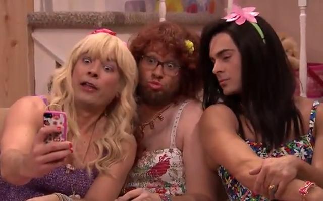 Above: Jimmy Fallon, Seth Rogen and Zac Efron take a selfie on 'Ew!'