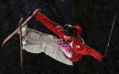 Above: Edmonton skier Mike Riddle won silver in the men's halfpipe at Sochi on Tuesday