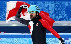 Canadian Charles Hamelin took home gold in the men's 1500 metres short track speed skating