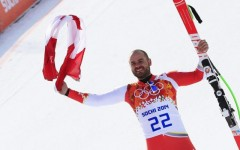 Above: Calgary's Jan Hudec won bronze for Canada in the men's super-G on Sunday