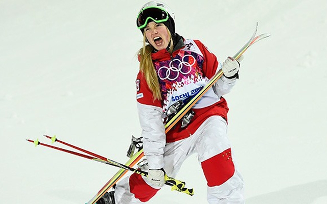 Above: Canada's Justine Dufour-Lapointe finishes first in the women's moguls final, her sister Chloe finished second