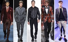 Above: Fall 2013 men's trends include: claret, head-to-toe grey, baseball jackets, pyjama-style patterns and the new sweatpant