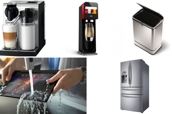 Above top (L-R): Nespresso Lattissima Pro | Mix by SodaStream | Simple Human Sensor Can | Above bottom (L-R): Sony Xperia Tablet Z: Kitchen Edition | Samsung Four Door Fridge with WIFI