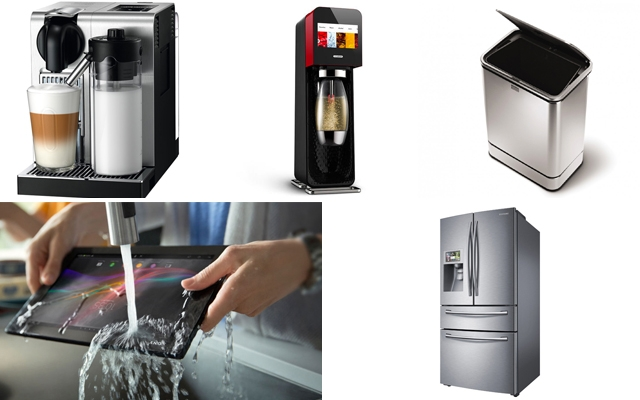Above top (L-R): Nespresso Lattissima Pro   Mix by SodaStream   Simple Human Sensor Can   Above bottom (L-R): Sony Xperia Tablet Z: Kitchen Edition   Samsung Four Door Fridge with WIFI