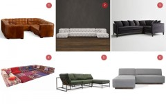 Above: 1) Ken Fulk Leather Tufted, Pottery Barn / 2) Soho Tufted, Restoration Hardware / 3) Dunham Down, West Elm / 4) Mah Jong, Roche Bobois x Missoni / 5) Military Canvas, Stephen Kenn / 6) Jarvis Bi-Sectional, Gus