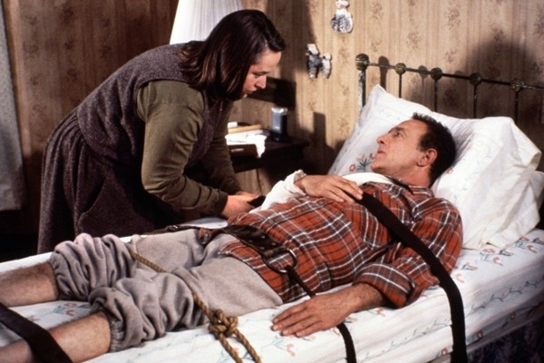 Above: Kathy Bates and James Caan in the 1990 Stephen King adaptation of Misery. Directed by Rob Reiner
