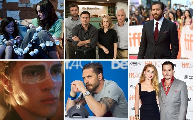Above top (L-R): Jacob Tremblay and Brie Larson in 'Room', the cast of 'Spotlight', Jake Gyllenhaal walks the red carpet for the world premiere of 'Demolition' / Above bottom (L-R): Connor Jessup in 'Closet Monster', Tom Hardy dismisses questions about his sexuality during a TIFF press conference, and Amber Heard and Johnny Depp walk the red carpet for the premiere of 'Black Mass'