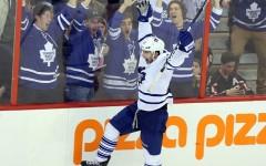 Above: Toronto Maple Leafs' Joffrey Lupul celebrates his goal after defeating the Ottawa Senators on Saturday April 20, 2013 (Photo: The Canadian Press)