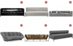 Above: 1) Woodframe Sofa from $ 10,000,  Montauk Sofa 2) Piazza Storm $1500, CB2 3) Carmo Sofa $4500, boconcept.com 4) Ploum Sofa $5300, Ligne Roset 5) Stephen Kenn Sofa, $5000 6) Twilight Sleeper Sofa $1785, DWR