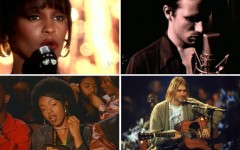 Above (clockwise): Whitney Houston, Jeff Buckley, Nirvana's Kurt Cobain and The Fugees' Lauryn Hill