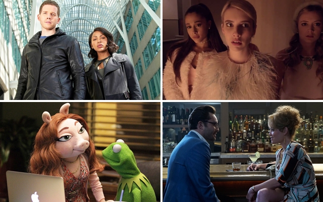 Above (clockwise): Minority Report, Scream Queens, Wicked City, and The Muppets