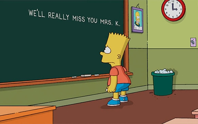 Above: Bart writes a simple condolence message on Springfield Elementary's blackboard (Courtesy of: Fox)